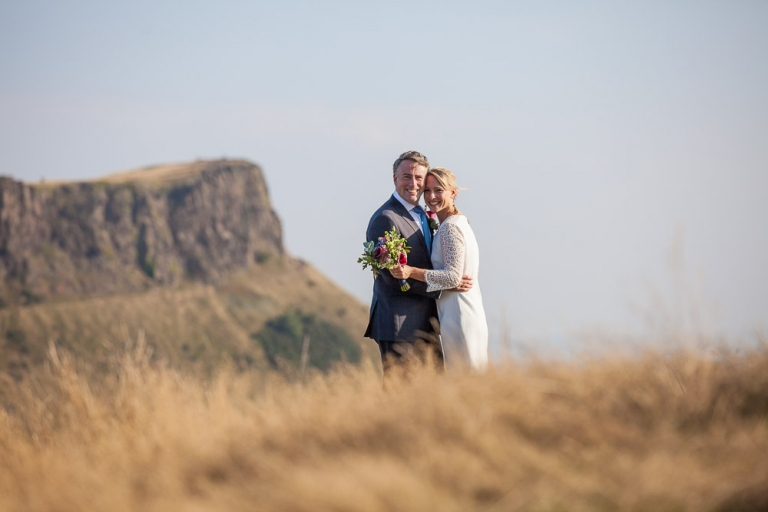bride and groom on Calton Hill Edinburgh