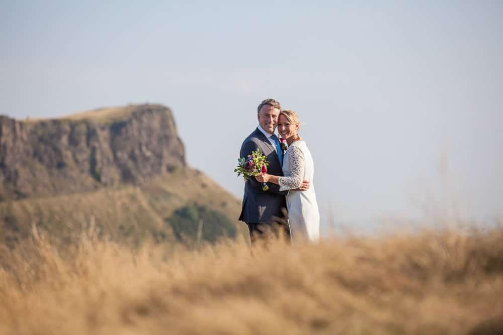 bride and groom on Calton Hill Edinburgh
