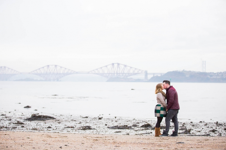 Engagement photography forth road bridge beach couple wedding photographer Fife