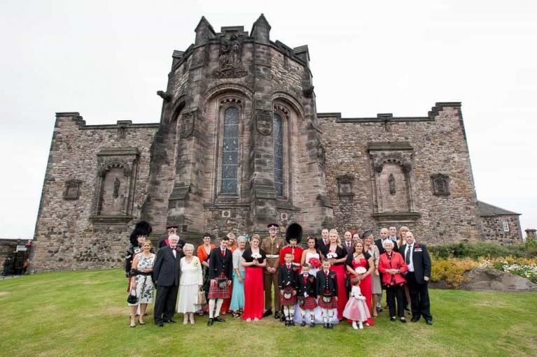 wedding guest formal photograph at Edinburgh castle