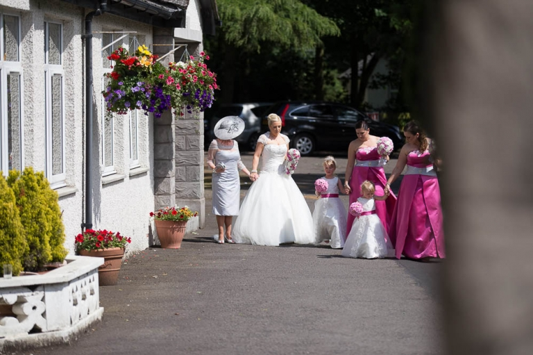 4 bridal party walking