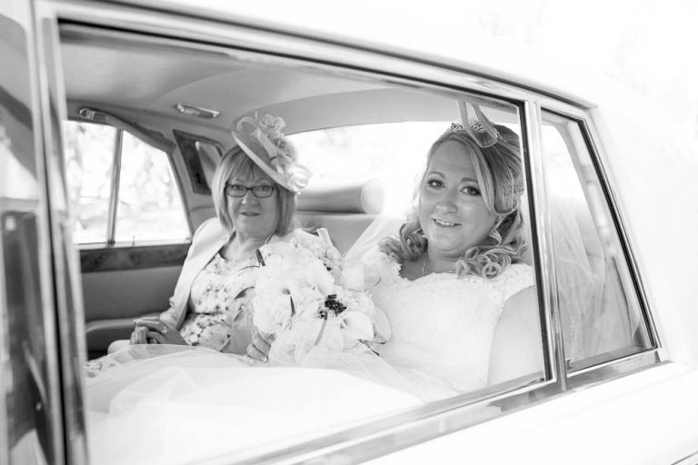 beancross wedding - bride with mother in car