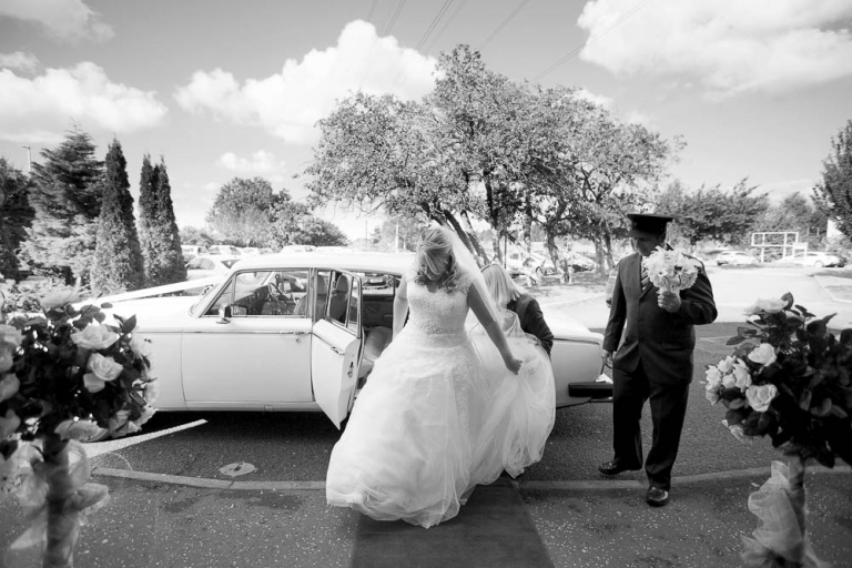 beancross wedding - bride arrival