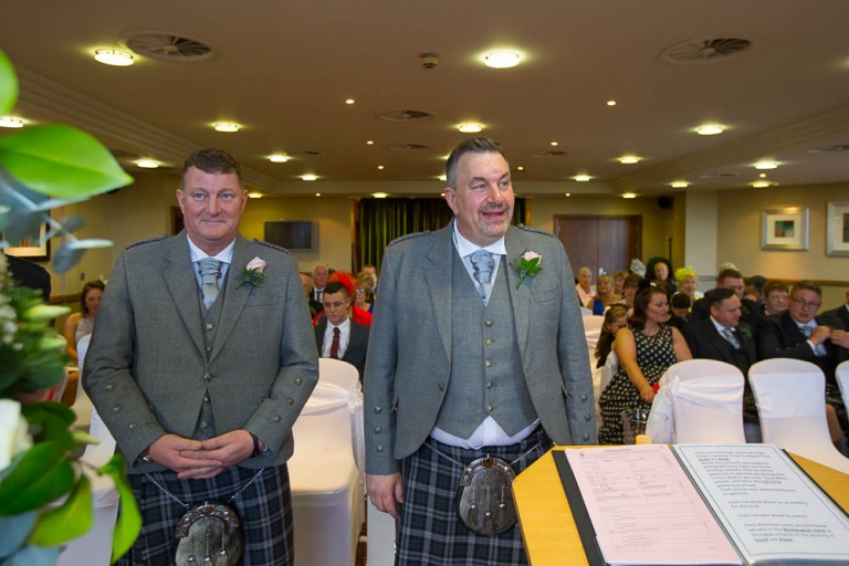 wedding photographer westerwood hotel - groom and best man awaiting