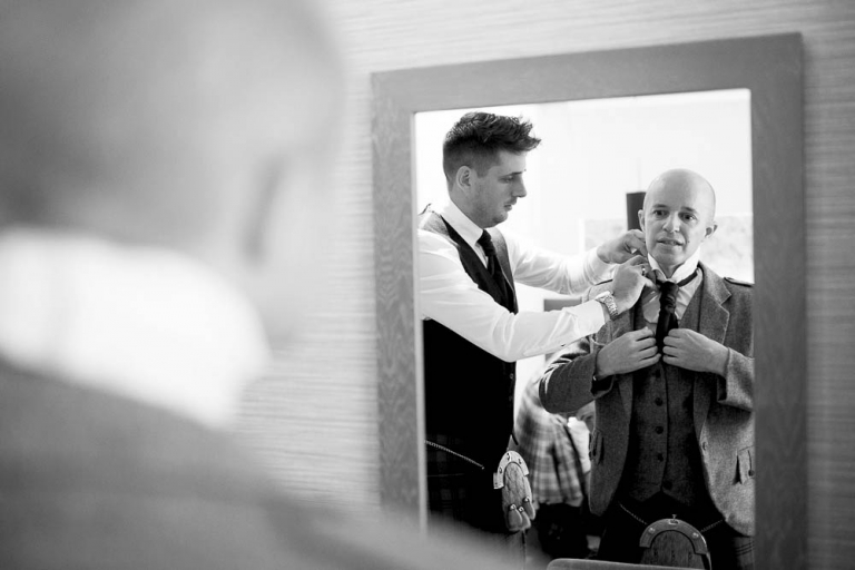 DoubleTree by Hilton the queensferry hotel wedding - groom getting ready