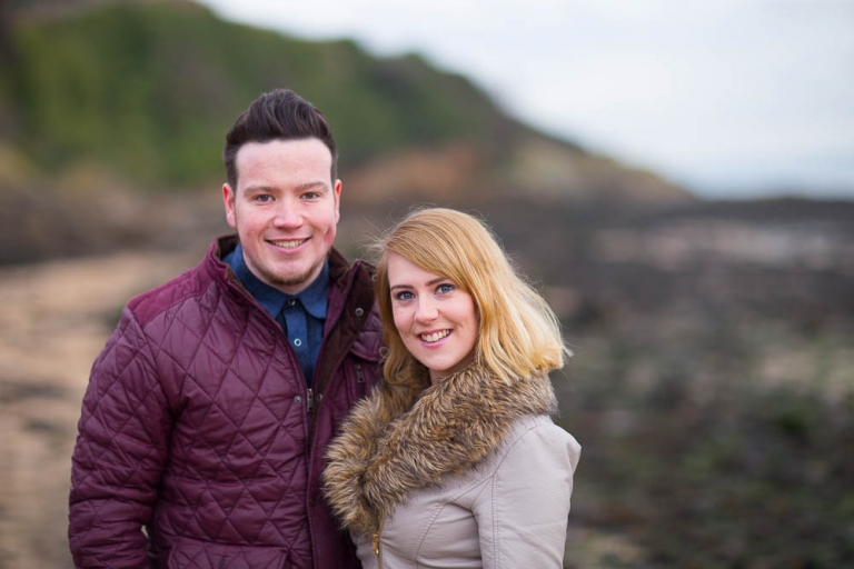 engagement photography dalgety bay - cuple on st davids beach