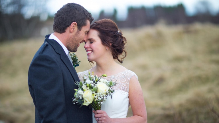 wedding photographer Edinburgh White Tree Photography romantic newlywed couple