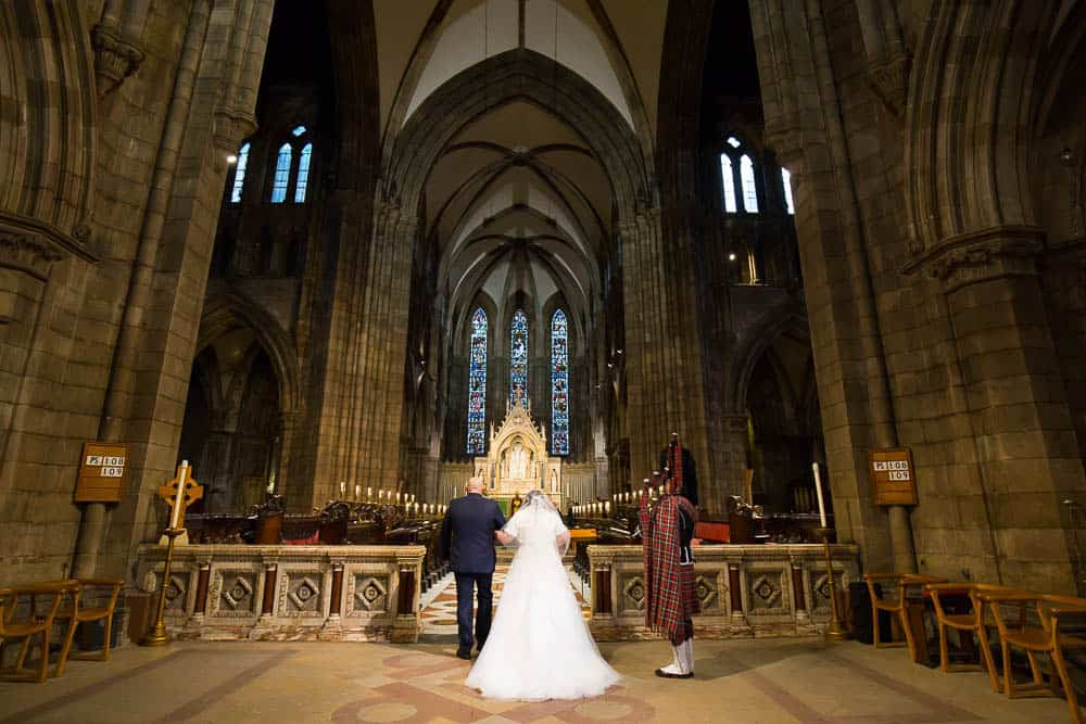 St Mary's Cathedral wedding Edinburgh couple enters into church