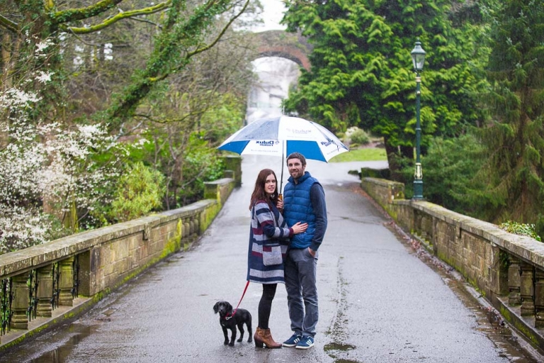 Engagement photography fife, couple with dog in rainy weather Dunfermline Pittencreiff Park - White Tree Photography