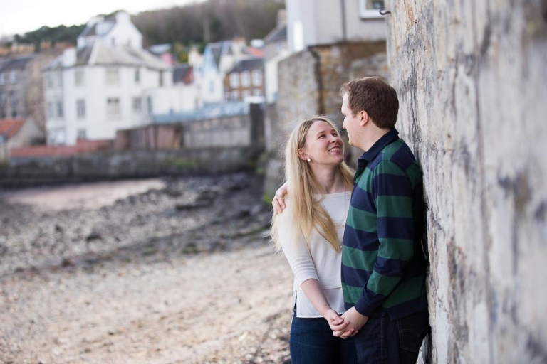 engagement photographer Edinburgh - romantic couple on beach