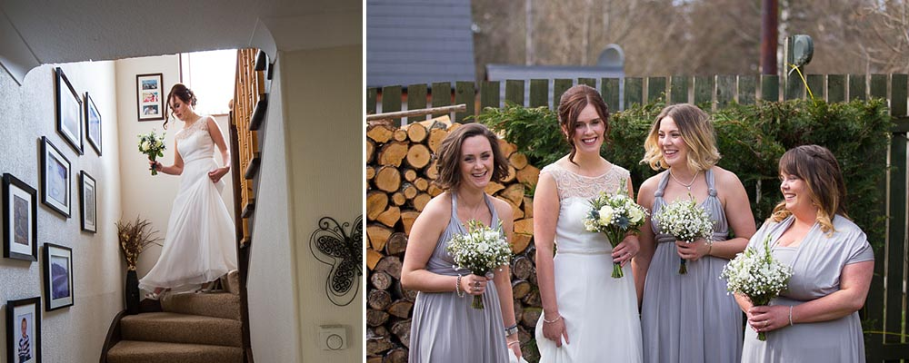 highland wedding photographer, bride with bridesmaids