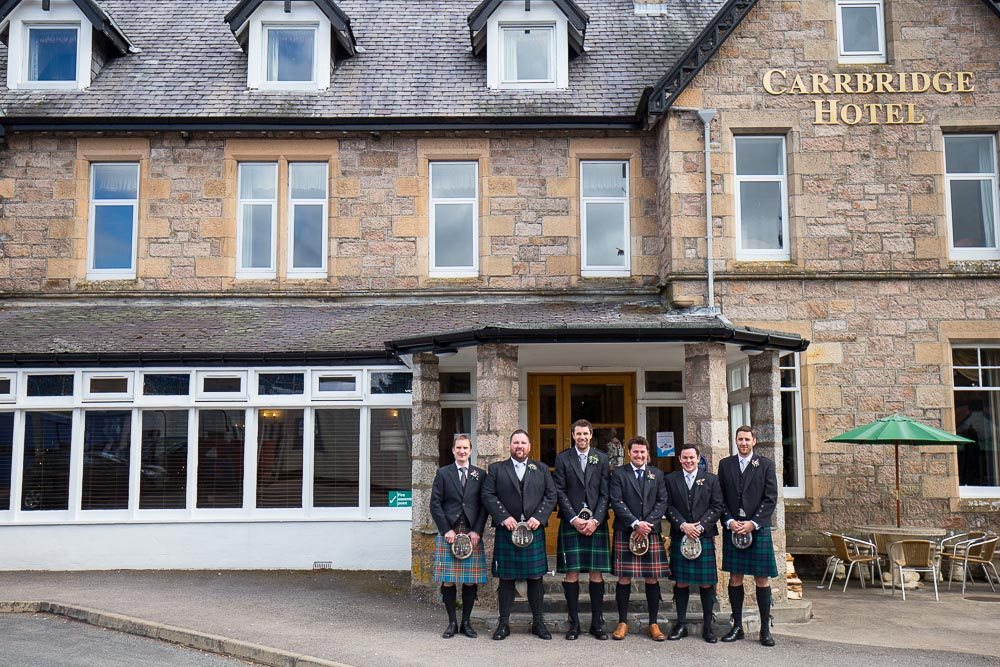 highland wedding photographer, groom with ushers carrbridge hotel