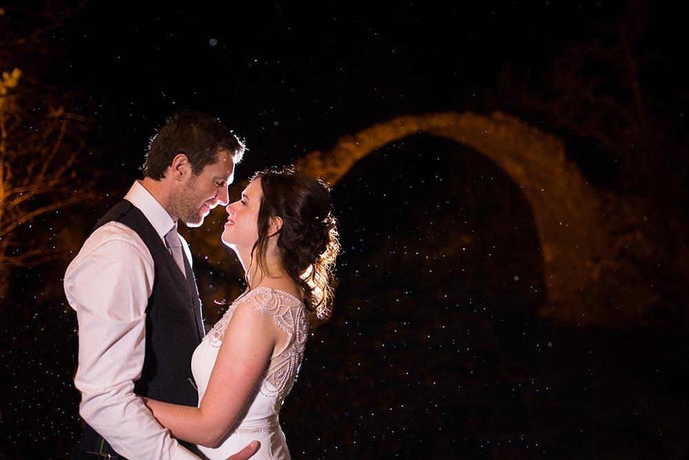 highland wedding photographer, carrbridge village bridge at night, wedding photography
