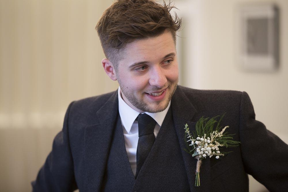 Glasgow City Chambers wedding photographer - groom before wedding ceremony