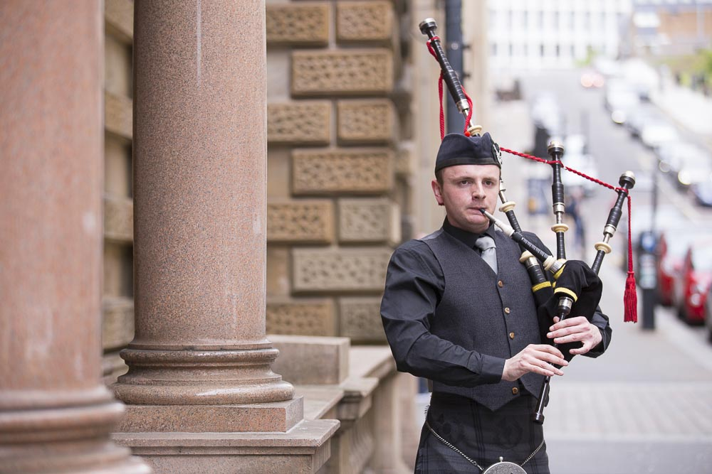 Glasgow City Chambers wedding photography piper