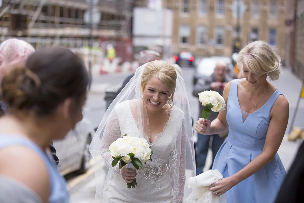 Glasgow City Chambers wedding photography bride arrival