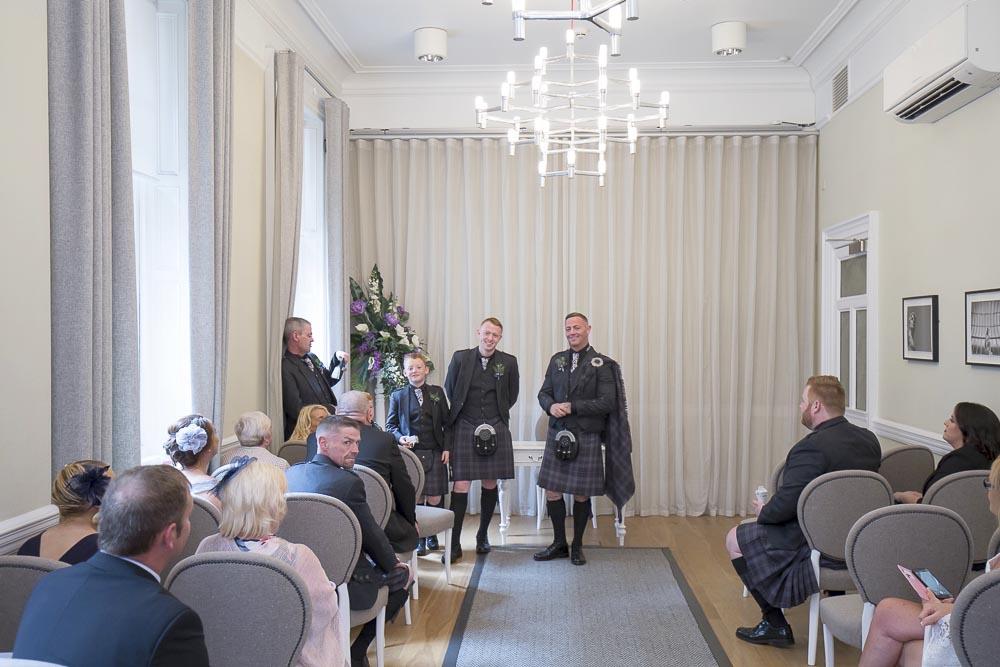 Glasgow City Chambers wedding photography groom with ushers