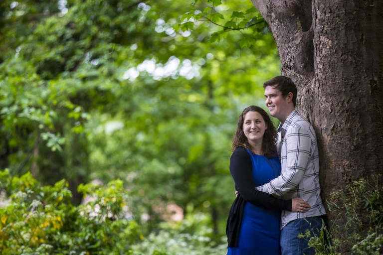 engagement photographer Dunfermline romantic couple in woods