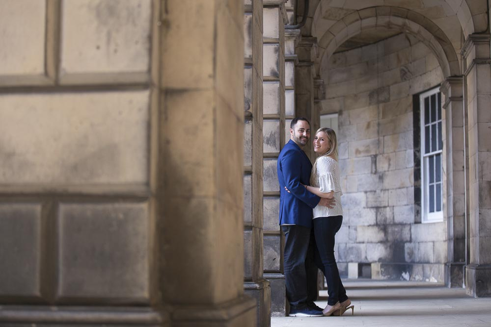 engagement photography Edinburgh romantic couple old town