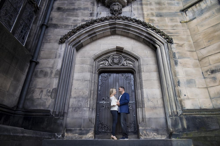 engagement photography Edinburgh st giles cathedral door