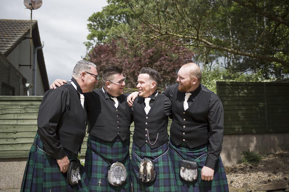Invercarse Hotel wedding photography dundee - groom with ushers