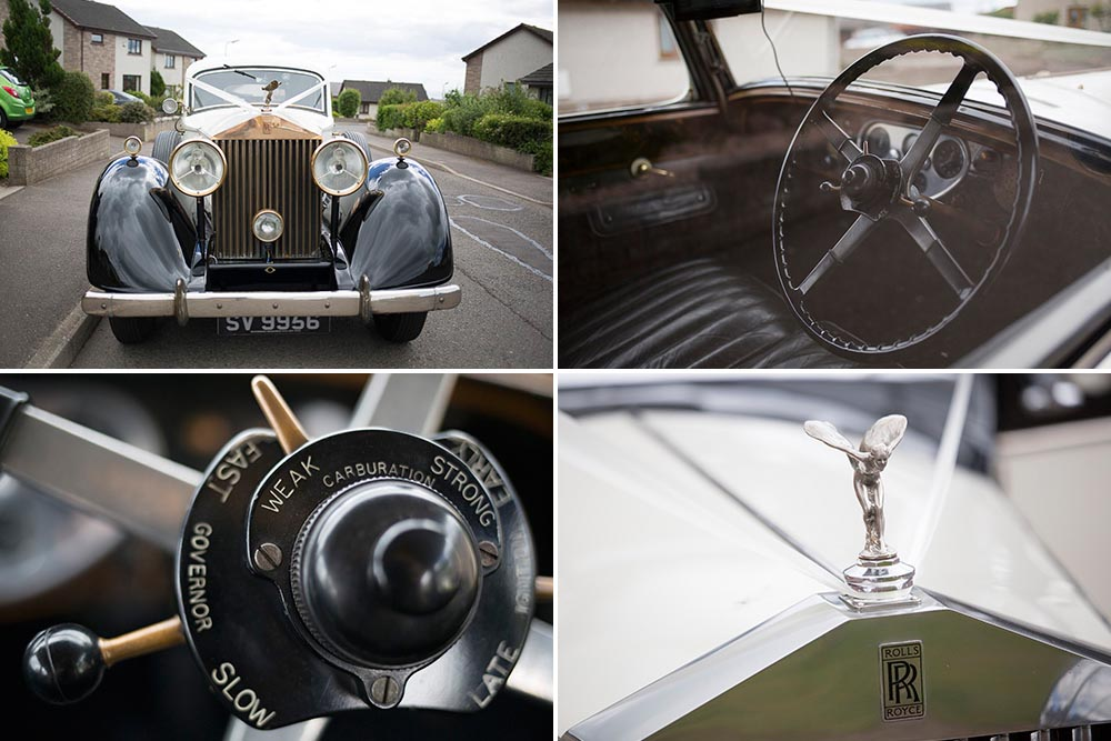 Invercarse Hotel wedding photography dundee - classic car rolls royce