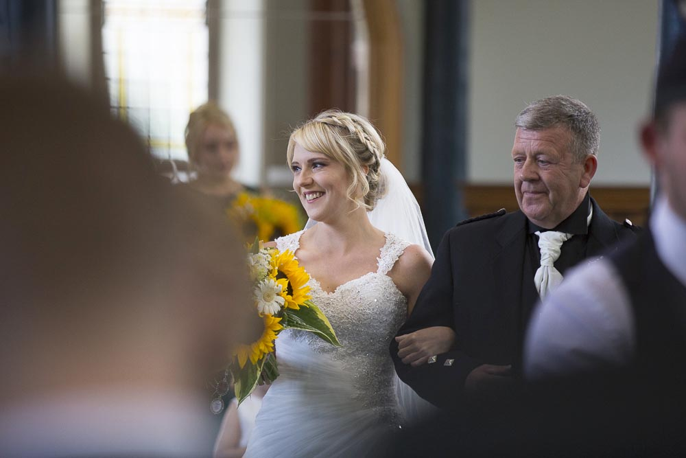 Invercarse Hotel wedding photography dundee - bride with father arriving