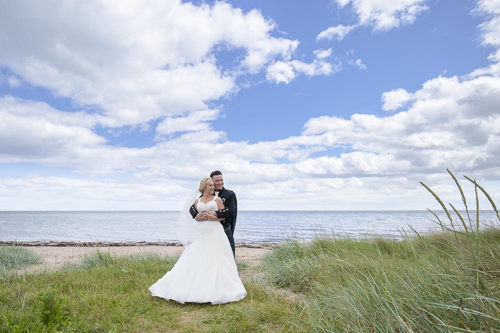 Invercarse Hotel wedding photography dundee - bride and groom at beach