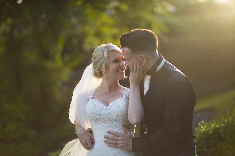 Invercarse Hotel wedding photography dundee 039 - romantic newlywed in sunset light