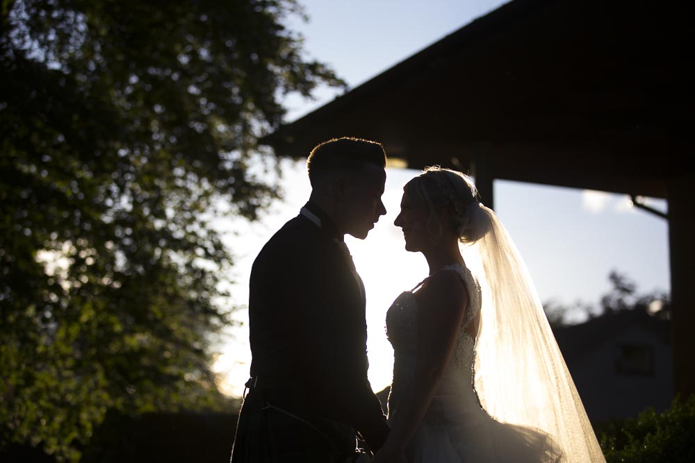 Invercarse Hotel wedding photography dundee - sunset bride and groom
