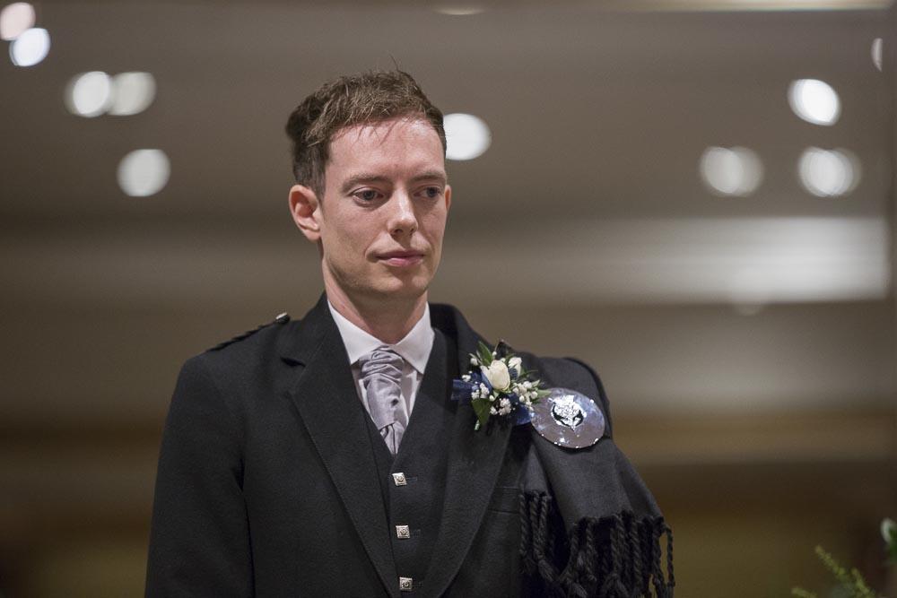 dunblane hydro wedding photography groom before ceremony