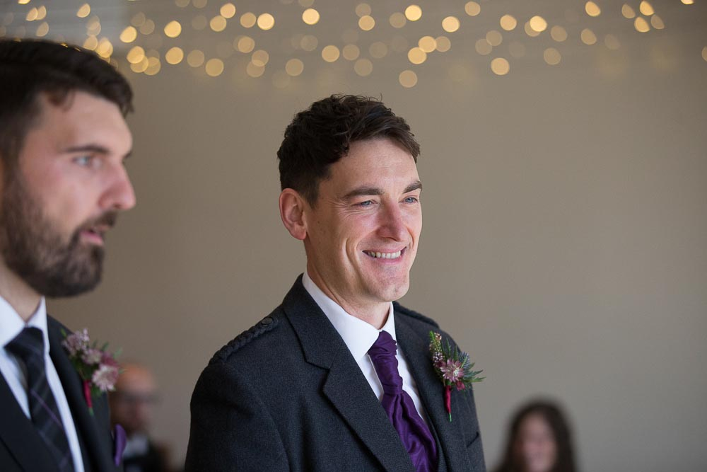 altskeith house wedding photography groom with best man awaiting bride
