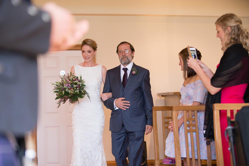 altskeith house wedding photography bride with father walking dawn the aisle