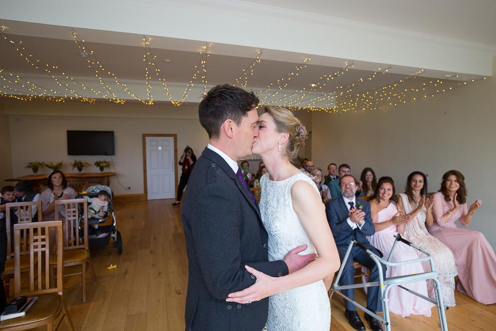 altskeith house wedding photography first kiss