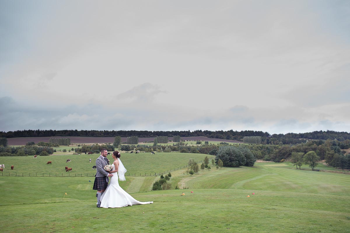 Forrester Park wedding photography romantic bride and groom on golf course