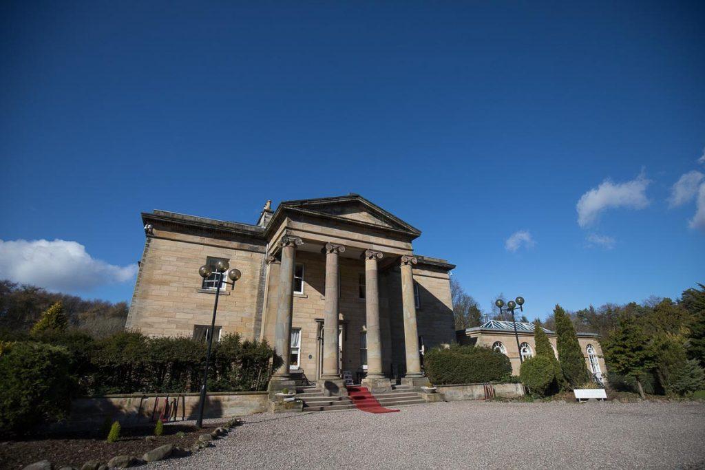 Balbirnie House Wedding Photography venue view sunny day blue sky