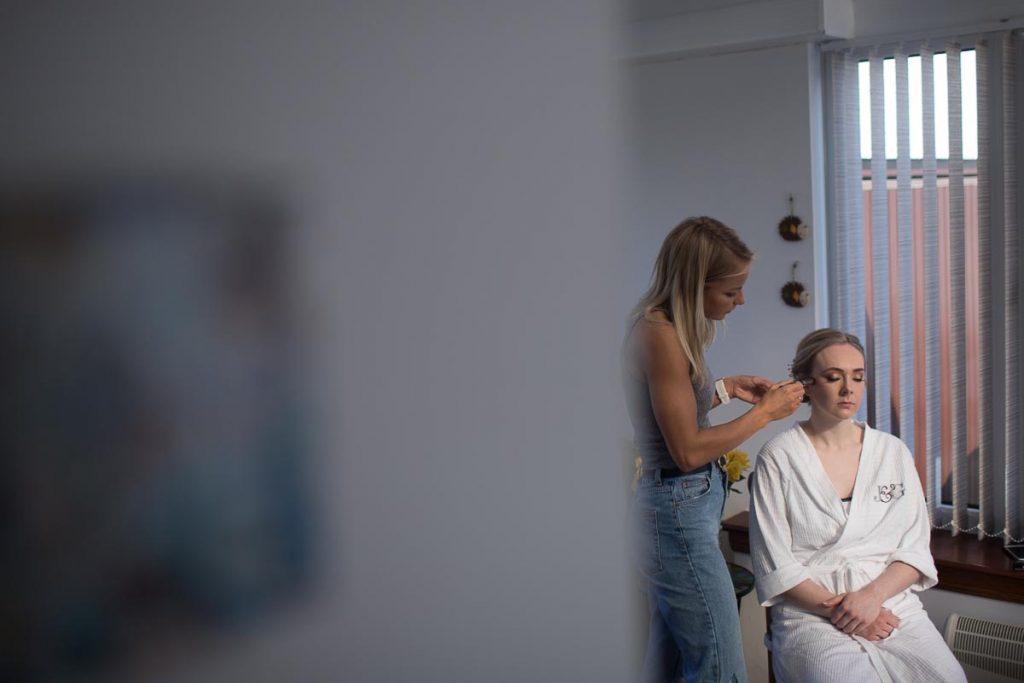 Balbirnie House Wedding Photography bride getting ready makeup