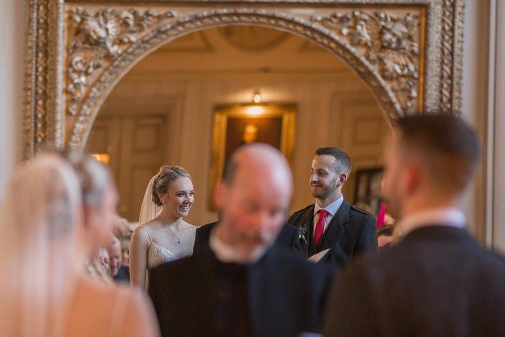 Balbirnie House Wedding Photography wedding ceremony reflection in the mirror