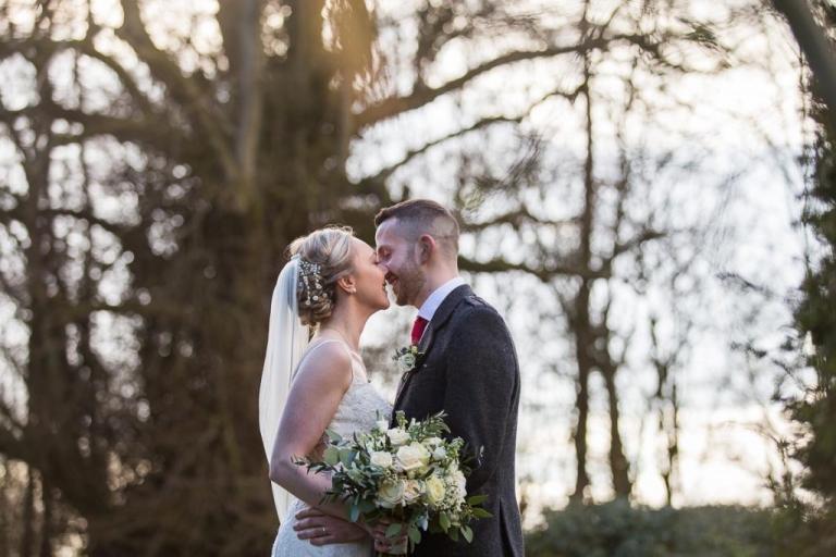 Balbirnie House Wedding Photography romantic couple kiss