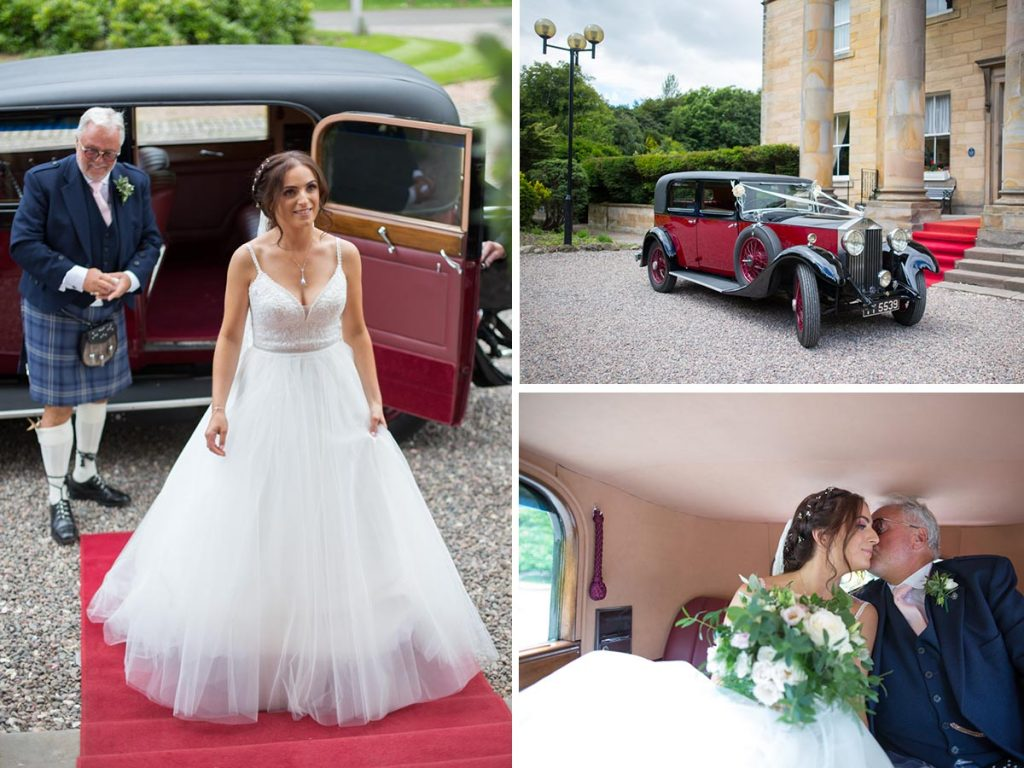 Balbirnie House dad and bride arriving classic car