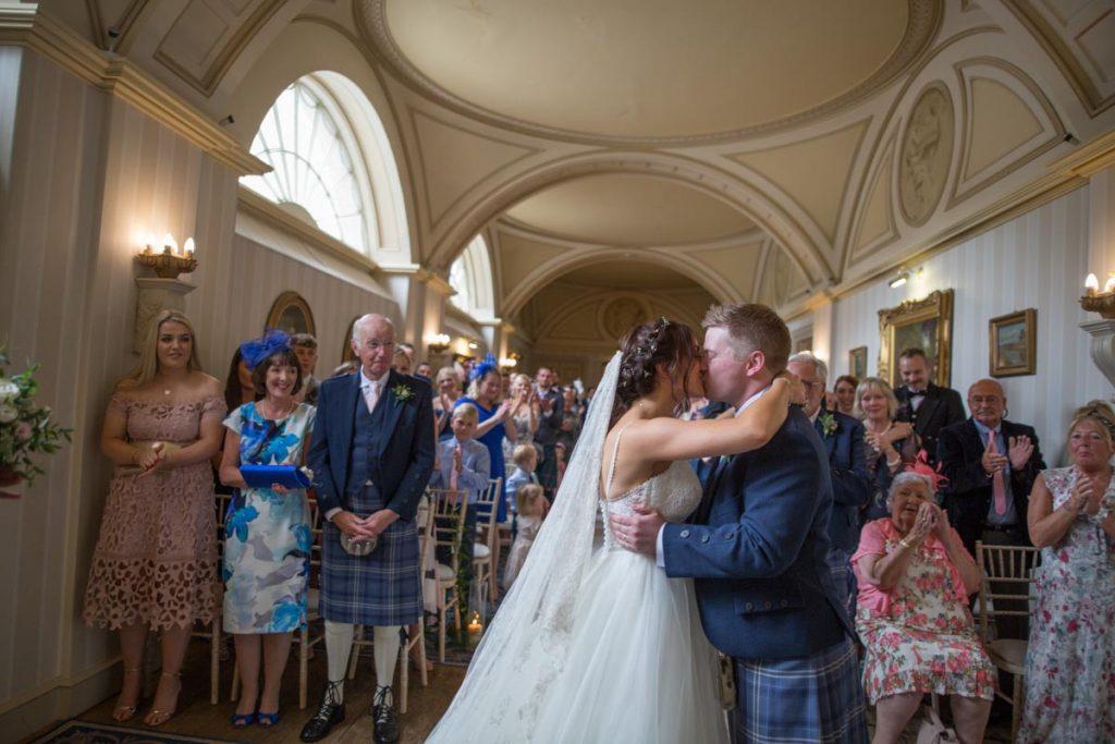 Balbirnie House wedding first kiss