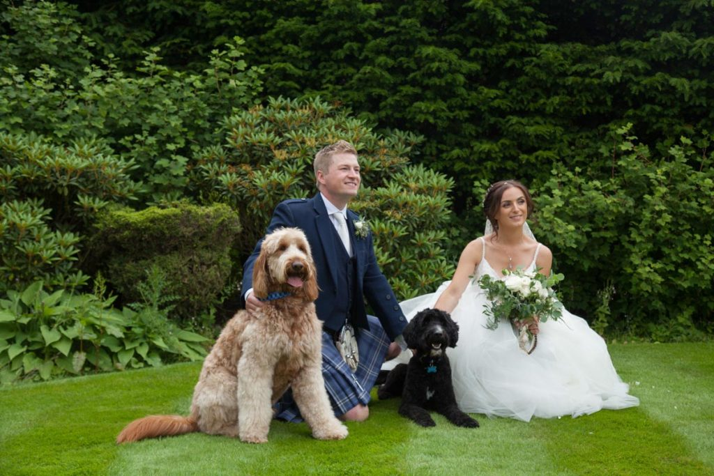 Balbirnie House wedidng bride and groom with dogs