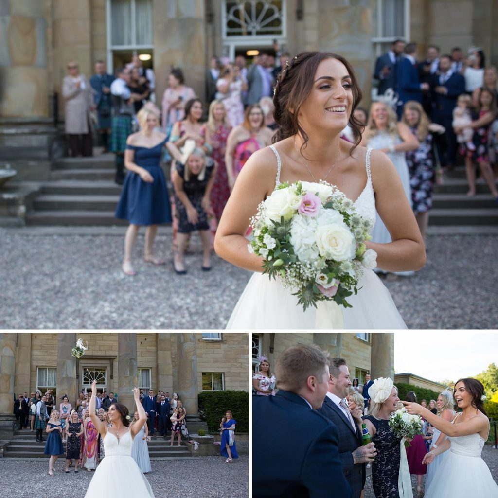 Balbirnie House bride tossing the bouquet