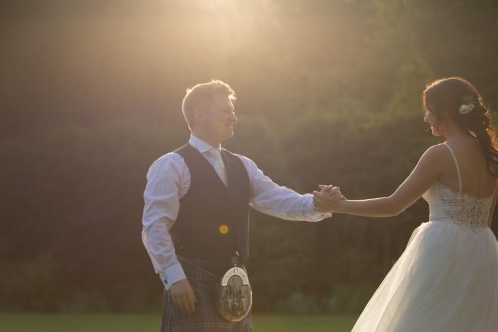 Balbirnie House wedidng newlywed couple dancing in the sunset