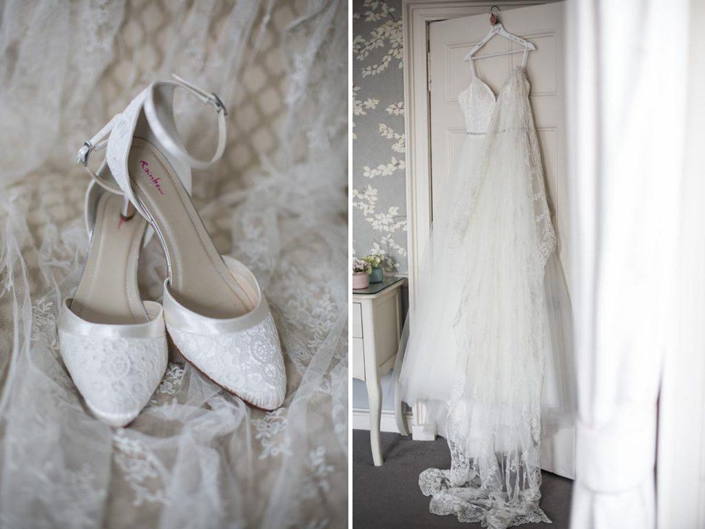 Balbirnie House wedding dress and shoes