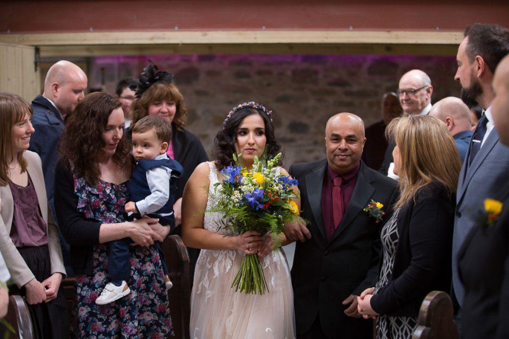comrie croft bride walk dawn the aisle